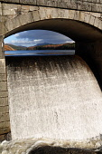 The overflow section of Laggan Dam, Loch Laggan (in the course of the River Spean, Highlands of Scotland. Kenny Ferguson / Scottish Viewpo winter,sunny,water,hill,hills,mountain,mountains,structure,engineering,energy,hydro,electric,scheme,cascade,flow,flowing