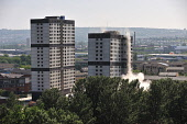 The tower blocks on Sandiefield Road, which have been in Glasgow southside since the 1960s, were destroyed by controlled explosion, 21.07.13. Second of a series of six. Tony Clerkson / Scottish Viewpoi 2013,summer,heritage,architecture,architectural,building,buildings,block,demolish,demolished,detonate,detonation,event,regeneration,regenerate,housing,social