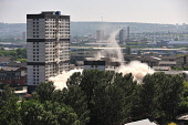 The tower blocks on Sandiefield Road, which have been in Glasgow southside since the 1960s, were destroyed by controlled explosion, 21.07.13. Third of a series of six. Tony Clerkson / Scottish Viewpoi 2013,summer,heritage,architecture,architectural,building,buildings,block,demolish,demolished,detonate,detonation,event,regeneration,regenerate,housing,social