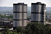 The tower blocks on Sandiefield Road, which have been in Glasgow southside since the 1960s, were destroyed by controlled explosion, 21.07.13. First of a series of six. Tony Clerkson / Scottish Viewpoi 2013,summer,heritage,architecture,architectural,building,buildings,block,demolish,demolished,detonate,detonation,event,regeneration,regenerate,housing,social