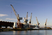 Shipyard cranes at Govan on the River Clyde, west of the city centre of Glasgow. Ross Graham / Scottish Viewpoint winter,sunny,sunshine,shipyard,crane,ship-building,shipbuilding,ship,building,engineering,industry,heritage