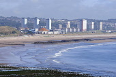 Looking over to the beach and esplanade area of Aberdeen, with a view beyond to tower blocks. Allan Wright / Scottish Viewpoin summer,sunny,sunshine,water,city,beach,beaches,sand,sandy,coast,coastal,coastline,sea,housing