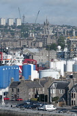 The harbour area at Aberdeen, with a view beyond to the city centre. Allan Wright / Scottish Viewpoin summer,sunny,sunshine,industry,industries,oil,dock,docks