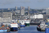 The harbour area at Aberdeen, with a view beyond to the city centre. Allan Wright / Scottish Viewpoin summer,sunny,sunshine,water,ship,ships,boat,boats,industry,industries,oil,dock,docks,river,dee