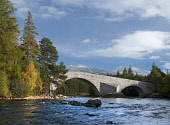 The Invercauld Bridge or Brig o' Dee across the River Dee, near Braemar, Aberdeenshire. Allan Wright / Scottish Viewpoin autumn,autumnal,sunny,sunshine,attraction,visitor,visitors,tourist,tourists,tourism,tree,trees,royal,deeside,hill,hills,mountain,mountains,snow,snowy