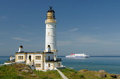 Corsewall Lighthouse with the Cairnryan to Stranraer Stenaline Ferry visible behind, Dumfries and Galloway Keith Kirk / Scottish Viewpoint summer,sunny,coastal,coastline,water,sea,building,light,house,transport,travel