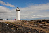 Southerness Lighthouse on the Solway Firth, Dumfries and Galloway. Keith Kirk / Scottish Viewpoint summer,sunny,coast,coastal,coastline,water,sea,foreshore,people,car,cars,parked,light,house