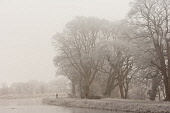 People walk by the Caledonian Canal near Fort William, on a frosty misty day, Highlands of Scotland. Kenny Ferguson / Scottish Viewpo winter,weather,climate,cold,fog,extreme,freezing,ice,frost,heavy,water,waterway,waterways,trees,path,towpath,family,walking,mist,misty,atmospheric,atmosphere