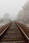 The West Highland Line near Fort William, on a frosty misty day, Highlands of Scotland. Kenny Ferguson / Scottish Viewpo winter,weather,climate,cold,fog,extreme,freezing,ice,frost,heavy,mist,misty,atmospheric,atmosphere,countryside,railway,track,tracks,transport,travel,travelling,scotrail