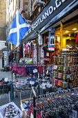 Tourist shop in the Lawnmarket, in the city centre of Edinburgh. Andrew Wilson / Scottish Viewpoi 2014,winter,retail,shop,shopping,shops,specialised,gift,gifts,giftshop,tat,tourist,tourism,tartan,flag,flags,saltire,royal,mile,old,town