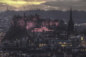 Looking over to Edinburgh Castle at dusk from Salisbury Crags, Edinburgh. Gary Doak / Scottish Viewpoint 2014,evening,floodlit,illuminated,city,cityscape,skyline,atmosphere,atmospheric,hdr,winter,attraction,attractions,visitor,tourist,history,heritage,historic,scotland,hs