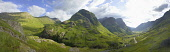 A panoramic view of Glen Coe from above the A82 road, with the Three Sisters visible, Highlands of Scotland.   ***Stitched image. Exaggerated view*** Allan Wright / Scottish Viewpoin summer,sunny,sunshine,atmospheric,atmosphere,mountain,mountains,hill,hills,glencoe,munro,munroes