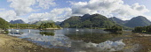 A panoramic view from Bishops Bay mooring on the north side of Loch Leven near North Ballachulish, with a view to mountains beyond, Highlands of Scotland.   ***Stitched image. Exaggerated view*** Allan Wright / Scottish Viewpoin summer,sunny,sunshine,reflection,reflections,activity,activities,sailing,boat,boats,yacht,yachts
