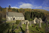 Balquhidder Parish Church with the ruins of the Old Church visible - the graveyard contains the grave of Rob Roy MacGregor. Allan Wright / Scottish Viewpoin autumn,sunny,sunshine,hill,hills,tree,trees,wood,woodland,woods,grave,graves,graveyard,gravestone,gravestones,religion,attraction,attractions,visitor,tourist
