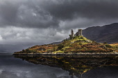 The ruined remains of Caisteal Maol perched on a rocky hill by Loch Alsh, Kyleakin, Isle of Skye, Inner Hebrides. Bill McKenzie / Scottish Viewpoi autumn,overcast,clouds,cloud,cloudy,storm,stormy,atmospheric,atmosphere,water,HDR,scotland,highland,castle,ruin,ruins,ruined,coast,coastal,coastline,sea,reflection,reflections,kyleakin,island,islands,
