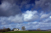 The view over fields to Balmaghie Parish Church, Balmaghie, Dumfries and Galloway. Keith Fergus / Scottish Viewpoin 2014,winter,spring,sunny,sunshine,Balmaghie,Church,kirk,Dumfries,Galloway,field,fields,cloud,clouds,building,architecture,grave,graves,graveyard,religion,sky