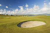 Stromness Golf Course, Mainland, Orkney. Picture Credit : Iain Sarjeant / Scottish Viewpoint  Tel: +44 (0) 131 622 7174  E-Mail : info@scottishviewpoint.com  Web: www.scottishviewpoint.com This photog... 2012,summer,sunny,island,islands,isle,isles,activity,activities,golf,golfing,sport,sports,green,hole,flag,club,links,coast,coastal,coastline,water,sea,bunker
