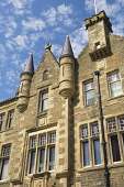 A detail of the Town Hall on Broad Street, Kirkwall, Mainland, Orkney. Picture Credit : Iain Sarjeant / Scottish Viewpoint  Tel: +44 (0) 131 622 7174  E-Mail : info@scottishviewpoint.com  Web: www.sco... 2012,summer,sunny,island,islands,isle,isles,architecture,architectural,building,buildings