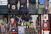 Kilts and tartan outside a Scottish souvenir shop on the Royal Mile, Edinburgh,  Lothian, Scotland Gary Doak/ Scottish Viewpoint Scottish,souvenir,shop,souvenirs,gift,gifts,kilt,kilts,sporran,tartan,tat,tourism,rugby,shirt,top,saltire,plaid,Royal,Mile,High,Street Canongate,Edinburgh,sunny,summer,shopping,scotland,uk,u.k,great,b