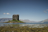 The view over Loch Laich to Castle Stalker, Argyll, Scotland. Chris Lauder / Scottish Viewpoin 2012,horizontal,summer,sunny,sunshine,coast,coastal,coastline,water,sea,loch,cloud,clouds,blue,sky,skies,argyll,laich,castle,stalker,day,people,group,kayakers,kayaks,seaweed,rocks,Scotland,Scottish,UK