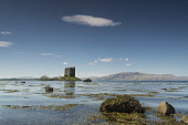 The view over Loch Laich to Castle Stalker, Argyll, Scotland. Chris Lauder / Scottish Viewpoin 2012,horizontal,summer,sunny,sunshine,coast,coastal,coastline,water,sea,loch,cloud,clouds,blue,sky,skies,argyll,laich,castle,stalker,day,no people,nobody,seaweed,rocks,Scotland,Scottish,UK,U.K,Great,B