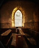 The interior of a dilapidated church near Gairlochy, Highlands of Scotland. Kenny Ferguson / Scottish Viewpo 2014,vertical,interior,no people,nobody,Scotland,Scottish,UK,U.K,Great,Britain,dilapidated,disued,abandoned,crumbling,pews,fifty,eight,fifty-eight,58,atmospheric,atmosphere,ruinous,window,leaded,diamo