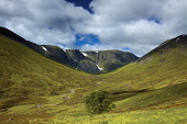 The dramatic cliffs of Coire Ardair in the Creag Meagaidh National Nature Reserve, Highlands of Scotland. Keith Fergus / Scottish Viewpoin 2014,horizontal,summer,sunny,sunshine,empty,no people,nobody,Scotland,Scottish,UK,U.K,Great,Britain,cliffs,snow,Coire,Adair,Creag,Meagaidh,National,Nature,Reserve,NNR,hills,mountains,tree,clouds,cloud