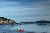 Boats at low tide in the Rough Firth at Kippford on a summer's evening, Dumfries and Galloway, Scotland. Keith Fergus / Scottish Viewpoin 2014,horizontal,summer,sky,skies,no people,nobody,Scotland,Scottish,UK,U.K,Great,Britain,evening,small,boats,sailing,atmospheric,atmosphere,coast,coastal,coastline,water,moored,Rough,Firth,Kippford,vi
