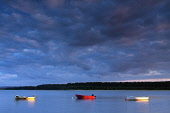 Small boats moored in Findhorn Bay at twilight, by Findhorn, Moray, Scotland. Keith Fergus / Scottish Viewpoin 2014,horizontal,summer,sky,skies,no people,nobody,Scotland,Scottish,UK,U.K,Great,Britain,Loch,Etive,clouds,cloud,evening,twilight,small,boats,sailing,dinghies,atmospheric,atmosphere,coast,coastal,coas