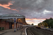 Kilmarnock Railway Station photographed at dusk, East Ayrshire, Scotland. Allan Wright / Scottish Viewpoin 2013,horizontal,evening,dusk,sunset,winter,East,Ayrshire,Scotland,Scottish,UK,U.K,Great,Britain,Kilmarnock,Railway,Station,rail,train,platform,platforms,transport,travel,travelling,atmospheric,atmosph