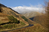 The single track road through Glen Etive with a view to snow covered mountains beyond, Highlands of Scotland. Allan Wright / Scottish Viewpoin horizontal,day,autumn,sunny,sunshine,mist,misty,blue,sky,skies,Highland,Highlands,Lochaber,no people,nobody,Scottish,UK,U.K,Great,Britain,hills,mountains,trees,forest,forestry,peaceful,serene,atmosphe