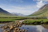 The River Etive as it flows in to Loch Etive with a view to mountains beyond, Highlands of Scotland. Allan Wright / Scottish Viewpoin horizontal,day,spring,sunny,sunshine,cloud,clouds,blue,sky,skies,water,Highland,Highlands,Lochaber,no people,nobody,empty,Scottish,UK,U.K,Great,Britain,hills,mountains,Loch,Etive,peaceful,serene,glen