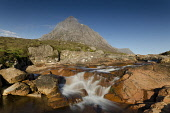 Stob Dearg, Buachaille Etive Mor, with the River Coupall in the foreground, Highlands of Scotland. Allan Wright / Scottish Viewpoin horizontal,day,summer,sunny,sunshine,blue,sky,skies,Highland,Highlands,no people,nobody,Scottish,UK,U.K,Great,Britain,mountain,Buachaille,Etive,Mor,Stob,Dearg,water,waterfalls,River,Coupall,flow,flowi