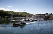 The busy port of Mallaig, Highlands of Scotland. Iain McLean / Scottish Viewpoint horizontal,day,summer,sunny,sunshine,blue,sky,skies,Mallaig,Lochaber,village,coast,coastal,Scotland,Scottish,UK,U.K,Great,Britain,no people,nobody,busy,port,harbour,boats,fishing,water,marina,activity