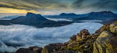 The Coigach and Assynt hills at dusk from Sgorr Tuath on Beinn an Eoin. A temperature inversion covers Loch Lurgainn immediately below and spreads north and west beyond the coast, Highlands of Scotlan... Alan Gordon / Scottish Viewpoint Coigach,Corbetts,Cul Mor,Geopark,Highlands,Loch Lurgainn,National Scenic Area,Ross and Cromarty,Scotland,Stac Pollaidh,Suilven,Torridonian,outdoors,mountain,mountains,hill,hills,summer,sunny,loch,loch