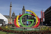 Commonwealth Games 2014 logo in George Square, Glasgow, Scotland Ian McLean/ Scottish Viewpoint 2014 Commonwealth Games,glasgow,uk,u.k,Great Britain,GB,G.B,Scotland,outdoors,group