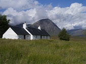 Blackrock Cottage with the Buachaille Etive Mor visible beyond, Glen Coe, Highlands of Scotland. Doug Houghton / Scottish Viewpoi horizontal,outdoors,outside,glen coe,black rock cottage,blackrock,glencoe,rannoch moor,highlands,Stob Dearg,Buachaille Etive Mor,mountain,munro,nobody,Scotland,Scottish,UK,U.K,Great Britain,housing,wh