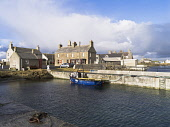 A fishing boat moored at the harbour of the village of Kettletoft, Sanday, Orkney, Scotland. Doug Houghton / Scottish Viewpoi horizontal,outdoors,outside,day,sunny,winter,harbour,fishing boat,boat,village,Orkney,Kettletoft,Sanday,quay,quayside,jetty,community,settlement,isles,islands,island,nobody,coast,coastal,coastline,wat