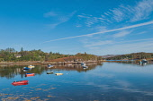 Boats moored at Badachro on Loch Gairloch, Highlands of Scotland. D.G.Farquhar / Scottish Viewpoin horizontal,outdoors,outside,day,autumn,sunny,blue sky,skies,bay,Badachro,Highlands,Scotland,Scottish,UK,U.K,Great Britain,calm,coast,coastal,coastline,water,nobody,small boats,moored,reflection,reflec