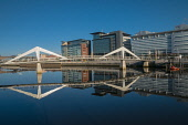 Tradeston Bridge or the Squiggly Bridge over the River Clyde  at Broomielaw, Glasgow, Scotland. D.G.Farquhar / Scottish Viewpoin horizontal,outdoors,outside,day,spring,sunny,blue sky,skies,Tradeston Bridge,footbridge,Broomielaw,Glasgow,city,Squiggly Bridge,Scotland,Scottish,UK,U.K,Great Britain,nobody,structure,engineering,wate