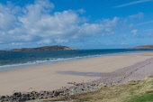 Looking over to the Isle of Longa from Big Sand, Gairloch, Highlands of  Scotland. D.G.Farquhar / Scottish Viewpoin horizontal,outdoors,outside,day,spring,sunny,blue sky,skies,cloud,clouds,beach,island,isle,Longa,Big Sand,Gairloch,Highlands,Scotland,Scottish,UK,U.K,Great Britain,coast,coastal,coastline,water,sea,no