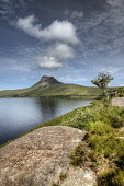 The view across Loch Lurgainn to Stac Pollaidh, Highlands of Scotland. Bill McKenzie / Scottish Viewpoi vertical,outside,outdoors,day,summer,Loch Lurgainn,Stac Pollaidh,Polly,Highland,Scotland,Scottish,UK,U.K,Great Britain,nobody,HDR,atmospheric,water,mountain