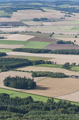The view across  rural farmland and fields of crops, Fife, Scotland Allan Wright/ Scottish Viewpoint uk,u.k,Great Britain,GB,G.B,Scotland,Scottish,Fife,nobody,outdoors,daytime,summer,sunny,farmland,patchwork fields,crops,tree,trees,wood,woodland,woods,forests,forest,aerial,farming