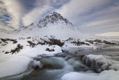Buachaille Etive Mor, with a partly frozen River Coupall in the foreground, Glen Coe, Highlands of Scotland. Allan Wright / Scottish Viewpoin horizontal,outdoors,outside,day,winter,Buachaille Etive Mor,River Coupall,Glen Coe,Highlands,Scotland,Scottish,UK,U.K,Great Britain,nobody,water,flow,snow,snowy,ice,frozen,atmospheric,mountain,munro,c