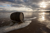 A whisky barrel from the Clynelish Distillery on the beach, Sutherland, Highlands of Scotland. John Paul / Scottish Viewpoint uk,u.k,Great Britain,GB,G.B,Scotland,Scottish,Clynelish Distillery,whisky,whiskey,nobody,day,outdoors,beach,waves,barrel,sea,Sutherland,Highlands of Scotland