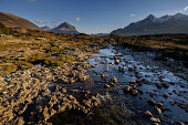 Afternoon sunlight on Marsco (left) and Sgurr nan Gillean (right) with the River Sligachan in the foreground, Isle of Skye, Inner Hebrides, Scotland. Andrew Wilson / Scottish Viewpoi horizontal,outdoors,outside,day,afternoon,winter,sunny,sunshine,Marsco,Sgurr nan Gillean,River Sligachan,Skye,island,isle,Inner Hebrides,Highland,Scotland,Scottish,UK,U.K,Great Britain,nobody,mountain