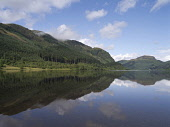 Reflections in the calm water of Loch Lubnaig near Strathyre, Stirling District, Scotland. Doug Houghton / Scottish Viewpoi horizontal,outdoors,outside,loch,lubnaig,strathyre,national park,forest,forestry,trees,reflections,scenic,lochside,calm,quiet,still,blue sky,skies,sunny,sunshine,water,lake,hills,nobody,Scotland,Scott