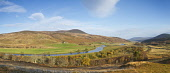 Panoramic view looking south along Strath of Kildonan surrounded by hills, Sutherland, Highlands of Scotland Mark Ferguson/ Scottish Viewpoin Sutherland,Highlands of Scotland,nobody,river,rivers,outdoors,daytime,uk,u.k,Great Britain,GB,G.B,Scotland,Scottish,autumn,autumnal,trees,autumn colours,tree,Strath Kildonan,Strath Ullie,panoramic,nor