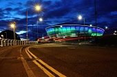 Night falls over the SSE Hydro Arena, Glasgow, Scotland Tony Clerkson/ Scottish Viewpoin Glasgow,Hydro Arena,Hydro lit up,clouds,color,colorful,colour,colourful,double yellow lines,dusk,evening,illuminated,landmark,landmarks,long exposure,night,night cityscape,night photography,nobody,riv
