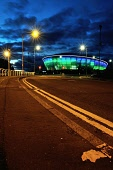 Night falls over the SSE Hydro Arena, Glasgow, Scotland Tony Clerkson/ Scottish Viewpoin Glasgow,Hydro Arena,Hydro lit up,NP,WP,clouds,color,colorful,colour,colourful,double yellow lines,dusk,evening,illuminated,landmark,landmarks,long exposure,night,night cityscape,night photography,no p